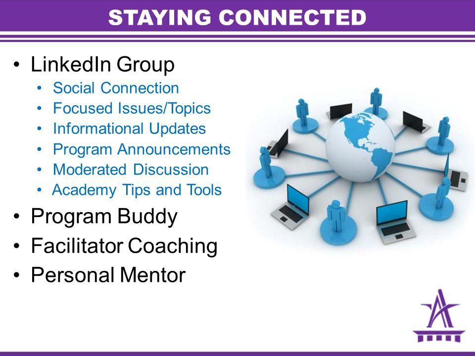 LinkedIn Group Social Connection Focused Issues/Topics Informational Updates Program Announcements Moderated Discussion Academy Tips and Tools Program Buddy Facilitator Coaching Personal Mentor