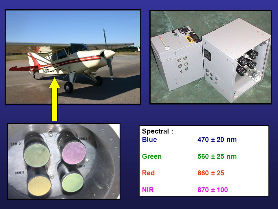 Spectral : Blue470 ± 20 nm Green560 ± 25 nm Red660 ± 25 NIR870 ± 100