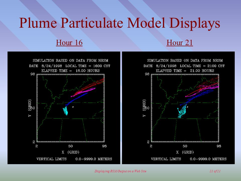 Displaying RSM Output on a Web Site21 of 21 Plume Particulate Model Displays Hour 16Hour 21