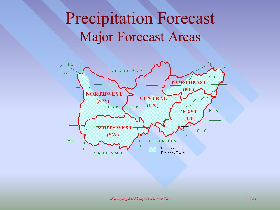 Displaying RSM Output on a Web Site7 of 21 Precipitation Forecast Major Forecast Areas