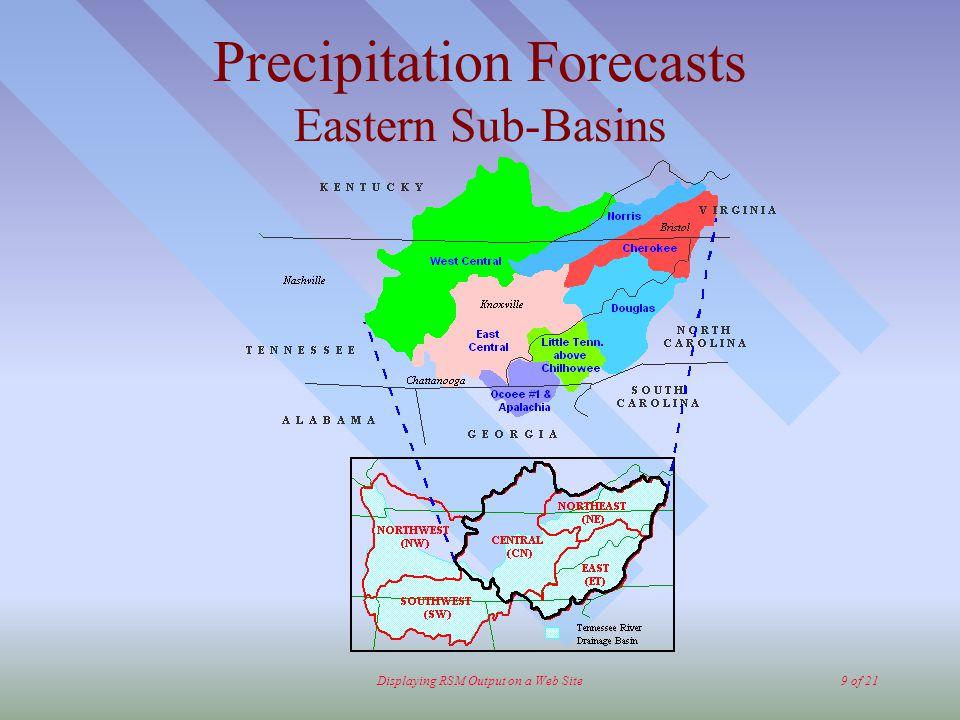 Displaying RSM Output on a Web Site9 of 21 Precipitation Forecasts Eastern Sub-Basins