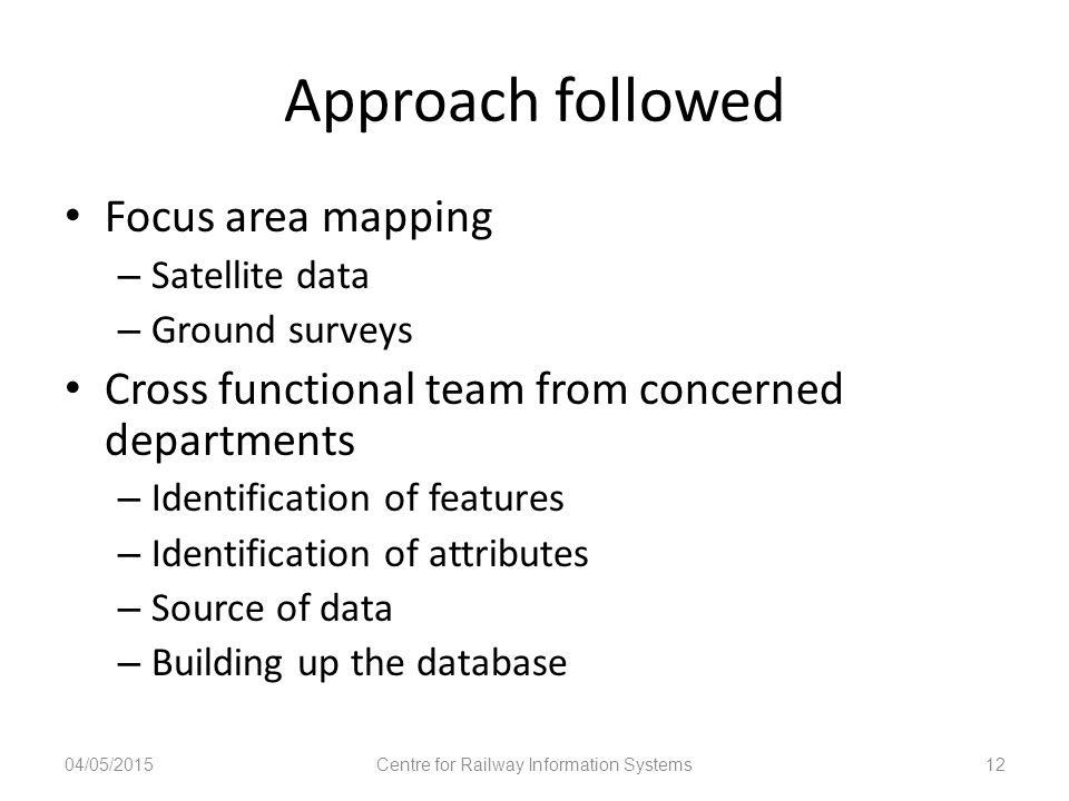 Approach followed Focus area mapping – Satellite data – Ground surveys Cross functional team from concerned departments – Identification of features –