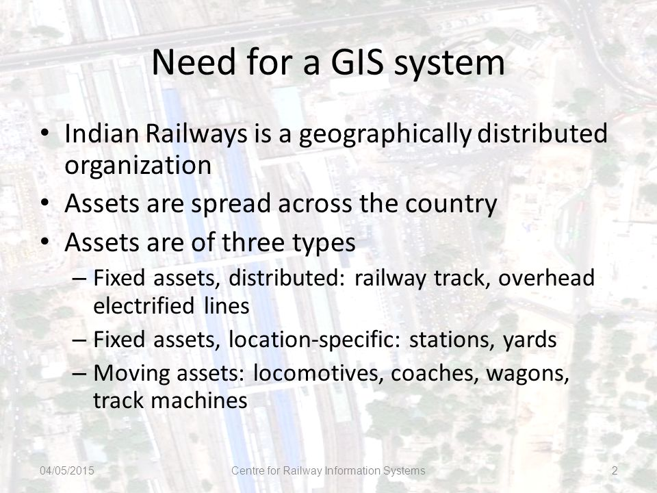 Need for a GIS system Indian Railways is a geographically distributed organization Assets are spread across the country Assets are of three types – Fi