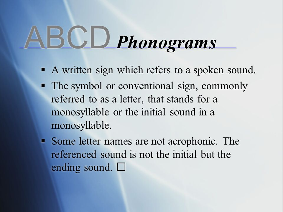 ABCD Phonograms  A written sign which refers to a spoken sound.