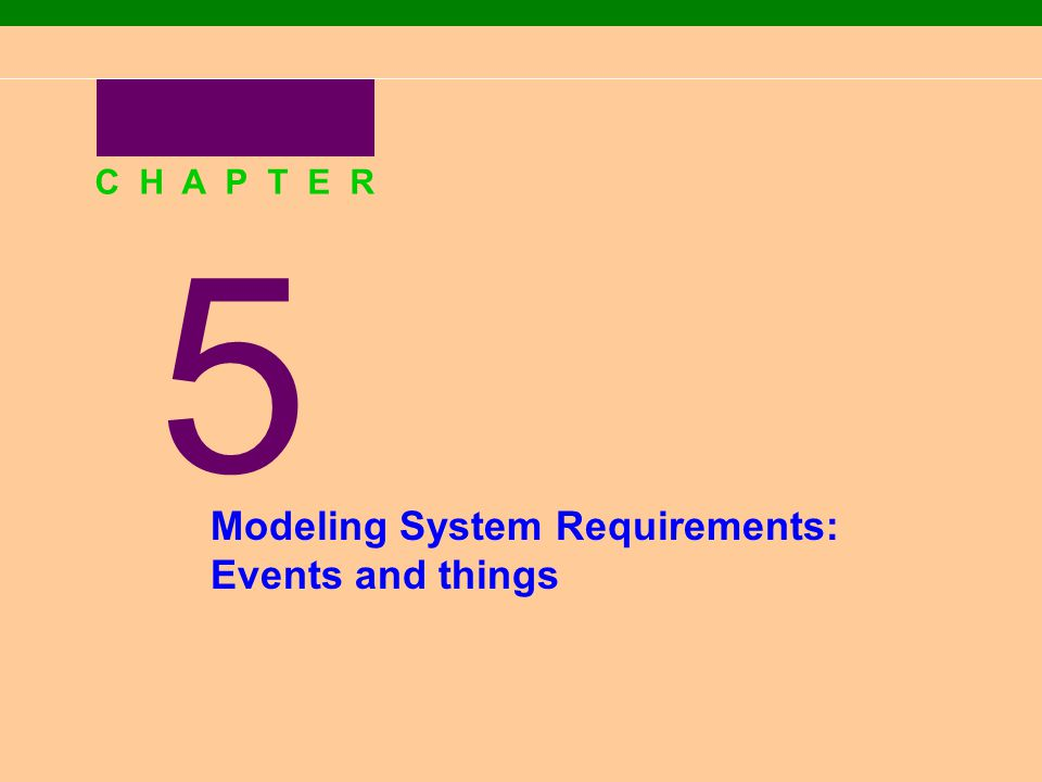 5 C H A P T E R Modeling System Requirements: Events and things