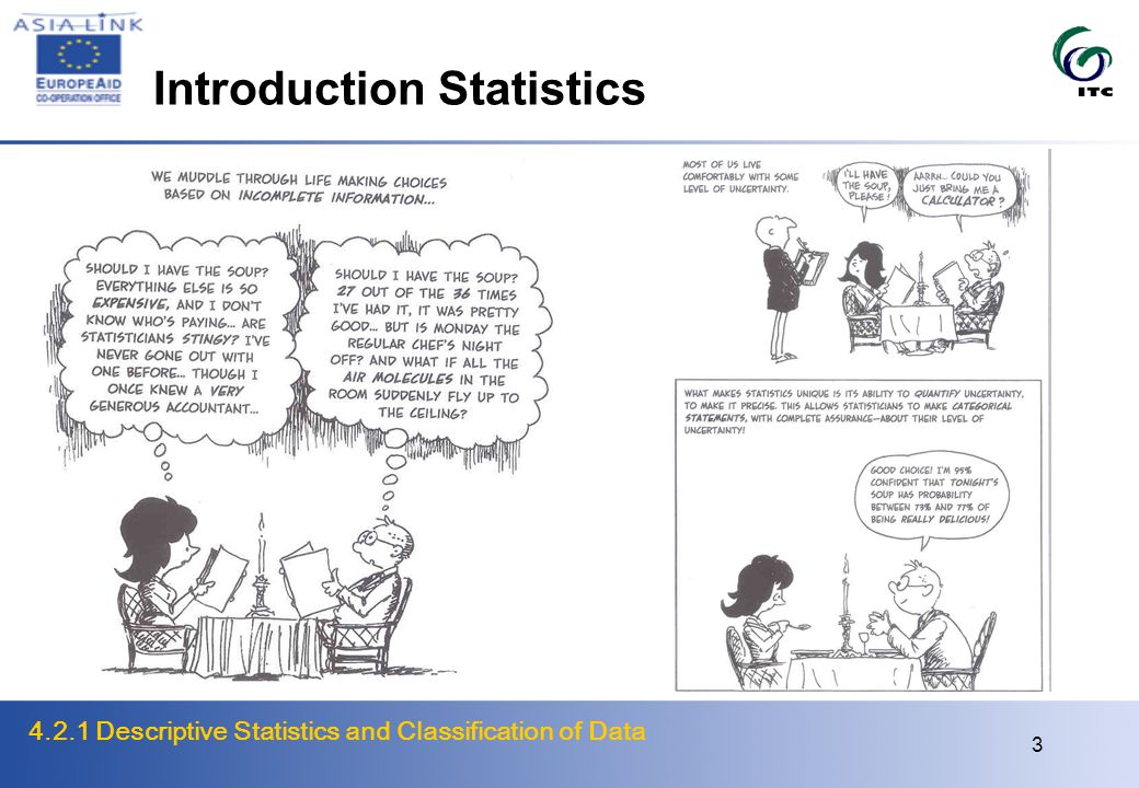 4.2.1 Descriptive Statistics and Classification of Data 4 Introduction Statistics Concepts Collecting (sampling), analyzing and conclusions about data Population - great variability of data Probability and uncertainty Assumptions and models Purpose On the basis of a sample draw sound conclusions about whole population Functions Descriptive summarizing data to make data more useful Inductiveprediction, testing relationships, generalization on basis of sampling