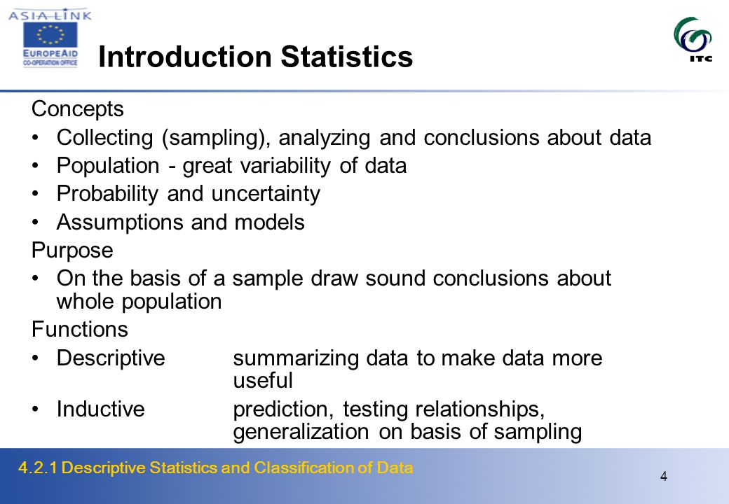 4.2.1 Descriptive Statistics and Classification of Data 5 Level of Measurement Measurement Ability to assign numbers to things according to a clear and well defined rule Are we dealing with the right things.