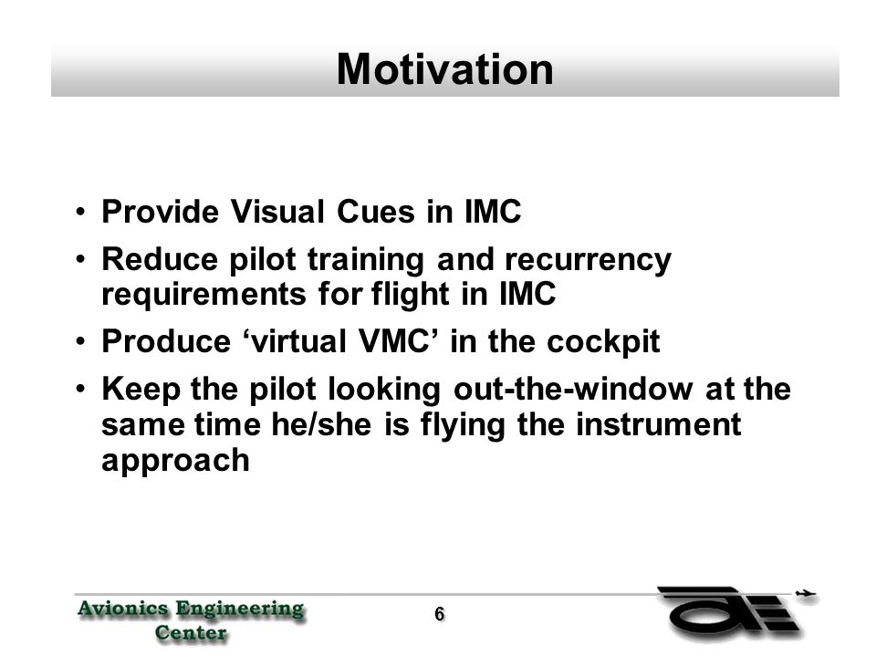 6 Motivation Provide Visual Cues in IMC Reduce pilot training and recurrency requirements for flight in IMC Produce 'virtual VMC' in the cockpit Keep the pilot looking out-the-window at the same time he/she is flying the instrument approach