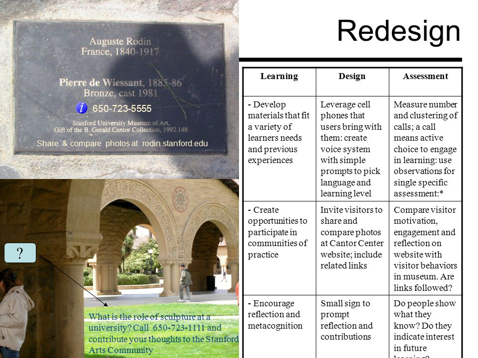 Redesign 650-723-5555 What is the role of sculpture at a university.