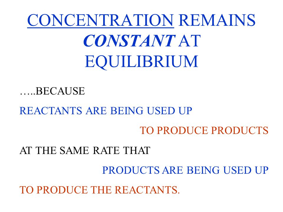 Example: GIVEN THAT Kc = 0.016 at 520 o C AND CONCENTRATION OF [HI] = 0.080 M AND [ I 2 ] = [H 2 ] = 0.010 M At EQUILIBRIUM, WHAT WOULD THE NEW CONCENTRATIONS BE WHEN EQUILIBRIUM IS RESTORED, IF THE [HI] IS TEMPRORARILY RAISED TO 0.096 M.