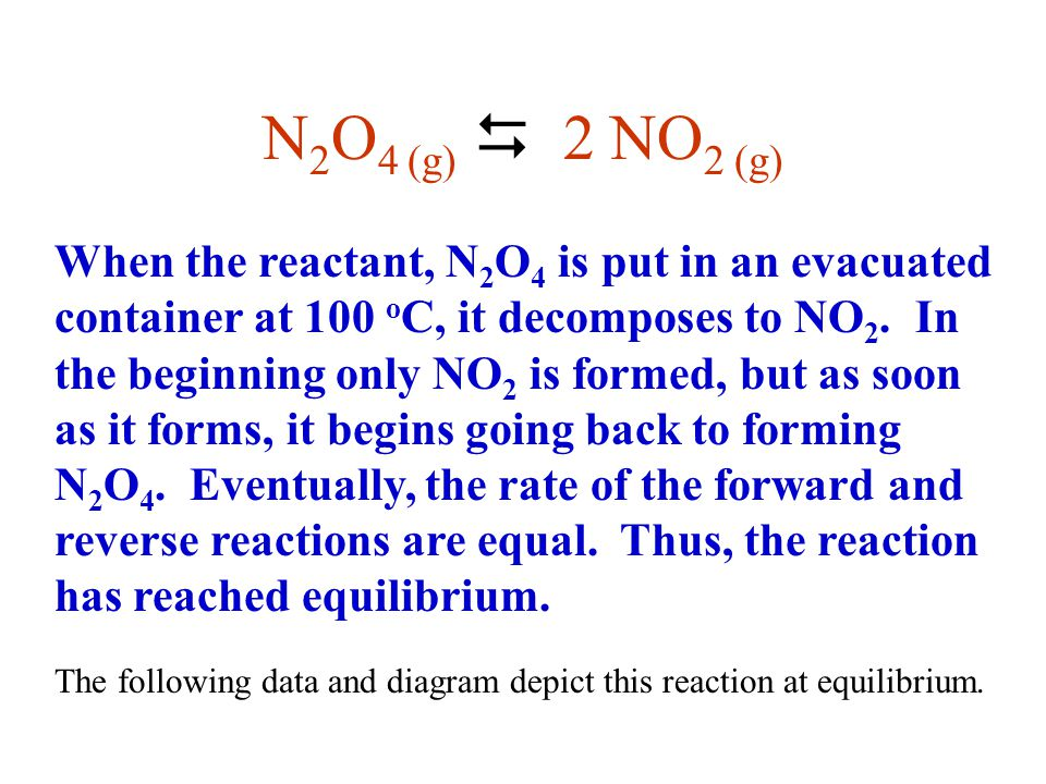 N 2 O 4(g)  2NO 2(g) WHAT EFFECT WILL AN INCREASE IN TEMPERATURE HAVE ON THIS SYSTEM.