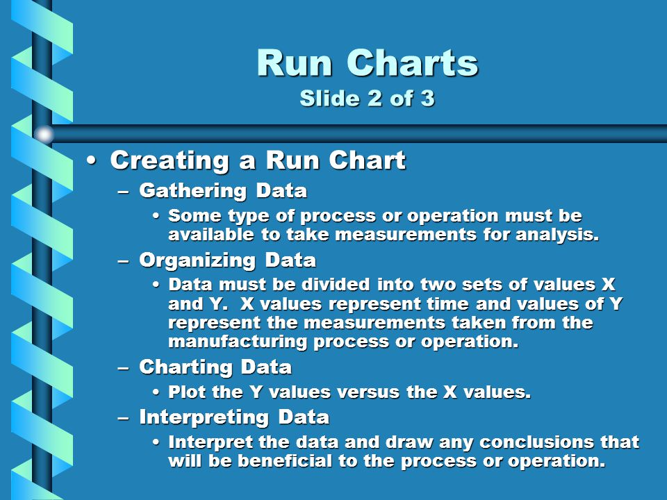 Run Charts Slide 2 of 3 Creating a Run ChartCreating a Run Chart –Gathering Data Some type of process or operation must be available to take measurements for analysis.Some type of process or operation must be available to take measurements for analysis.