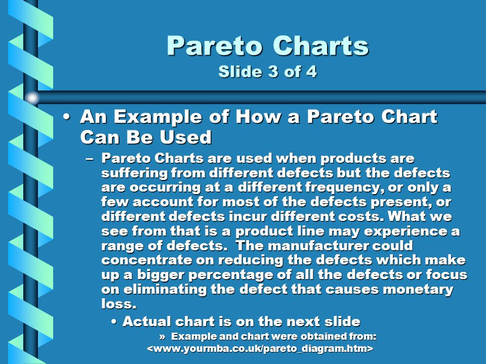 Pareto Charts Slide 3 of 4 An Example of How a Pareto Chart Can Be UsedAn Example of How a Pareto Chart Can Be Used –Pareto Charts are used when products are suffering from different defects but the defects are occurring at a different frequency, or only a few account for most of the defects present, or different defects incur different costs.
