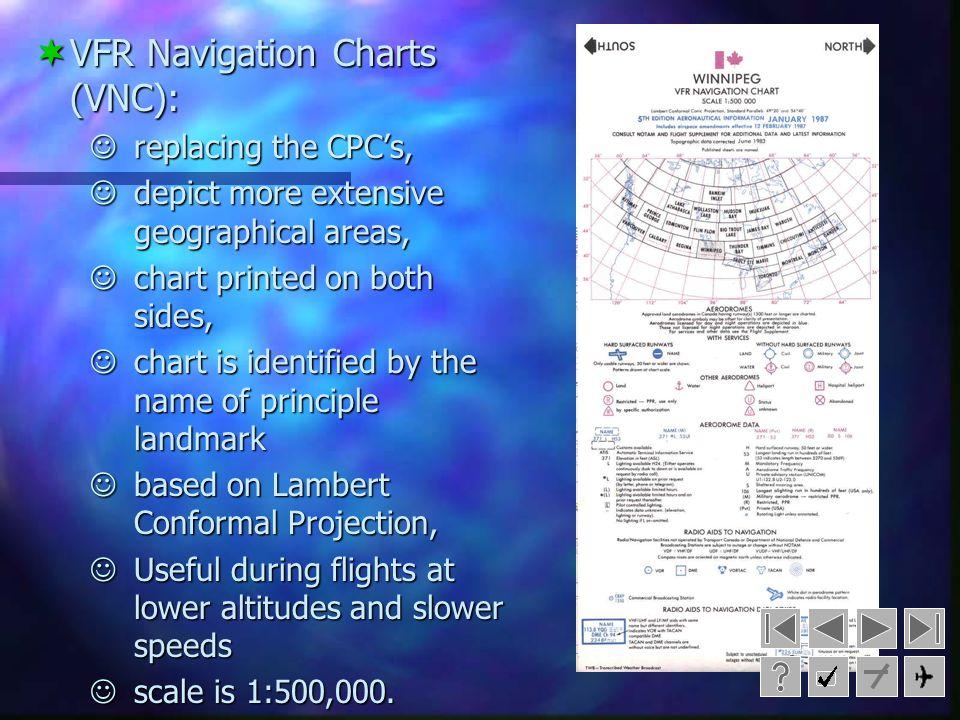Types of Navigation Charts VFR Navigation Charts (VNC) World Aeronautical Charts (WAC) VFR Terminal Area Charts (YTA) Enroute Charts