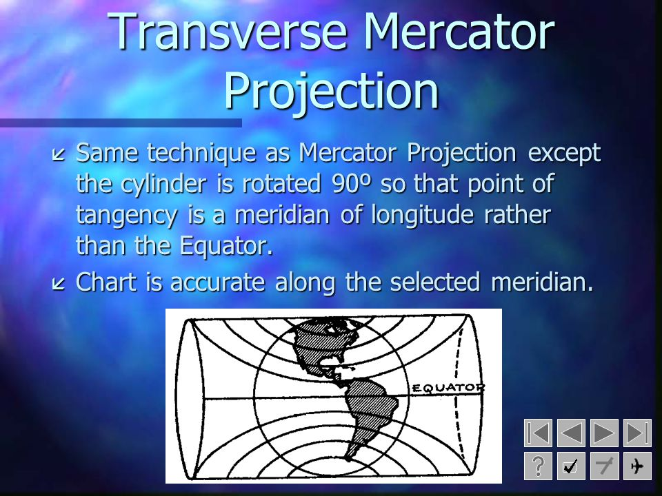( Meridians of longitude are straight and parallel. ( Parallels of latitude are straight and parallel. ( There is no constant scale. ( A straight line