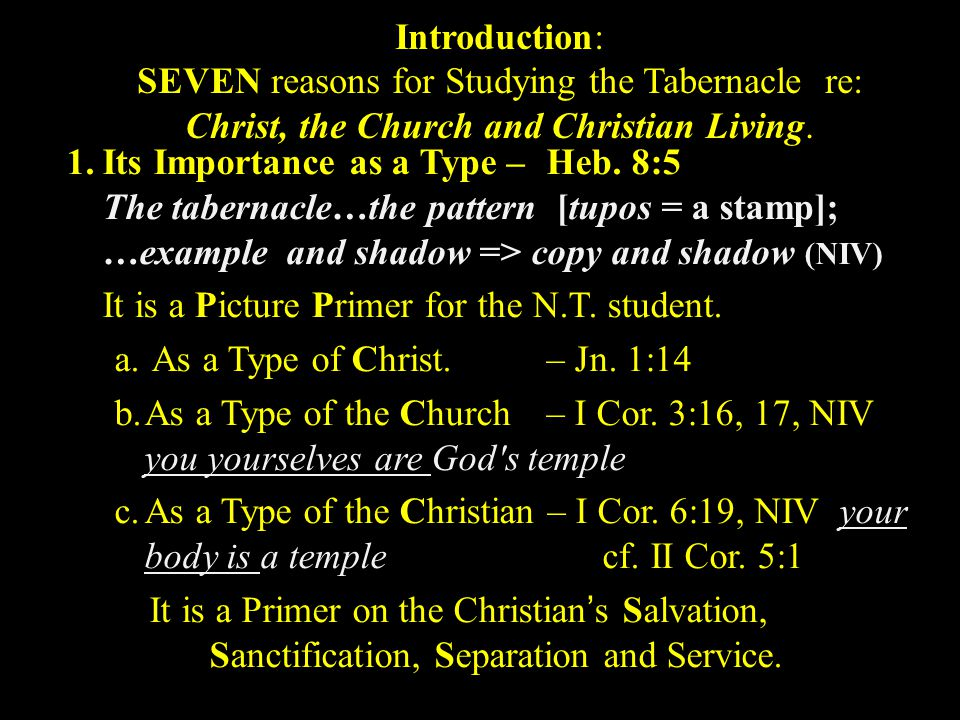 1.Its Importance as a Type – Heb. 9:24 2.