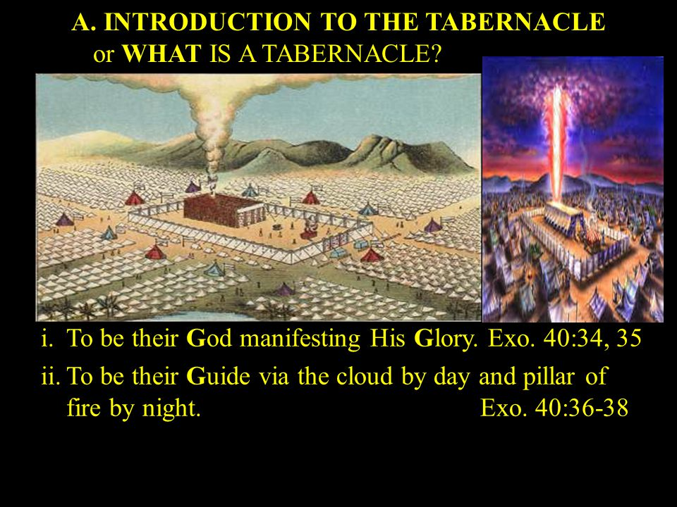 A. INTRODUCTION TO THE TABERNACLE or WHAT IS A TABERNACLE.