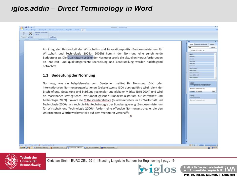 Christian Stein | EURO-ZEL 2011 | Blasting Linguistic Barriers for Engineering | page 19 iglos.addin – Direct Terminology in Word