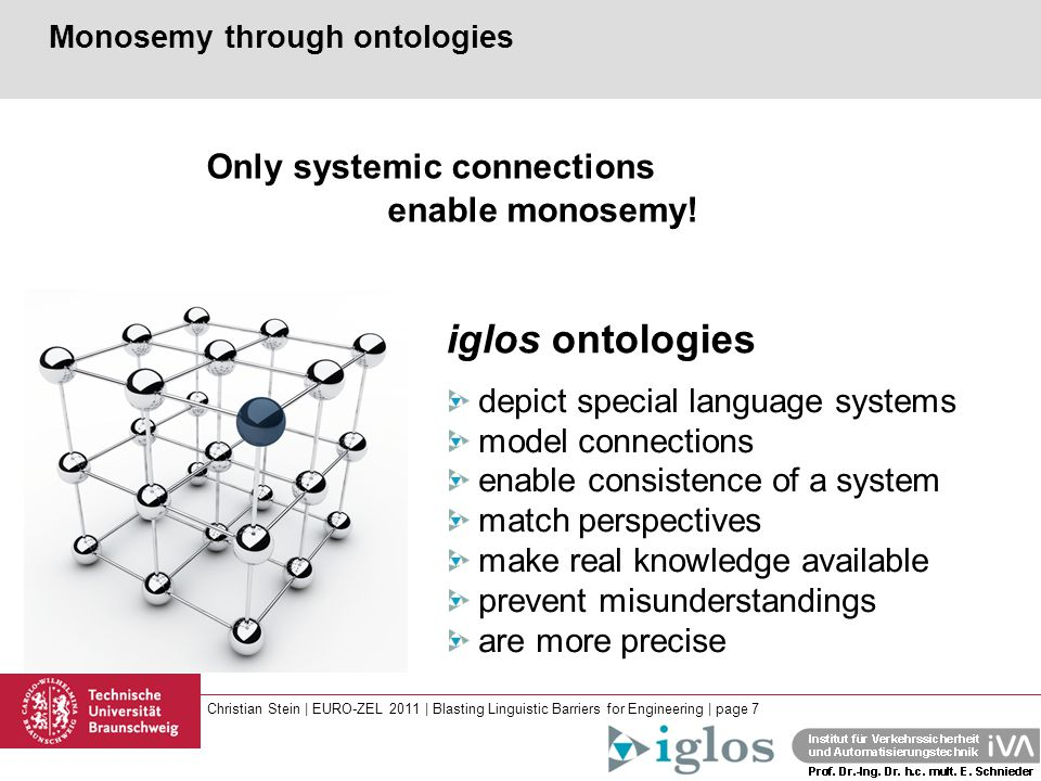 Christian Stein | EURO-ZEL 2011 | Blasting Linguistic Barriers for Engineering | page 7 depict special language systems model connections enable consistence of a system match perspectives make real knowledge available prevent misunderstandings are more precise Monosemy through ontologies Only systemic connections enable monosemy.