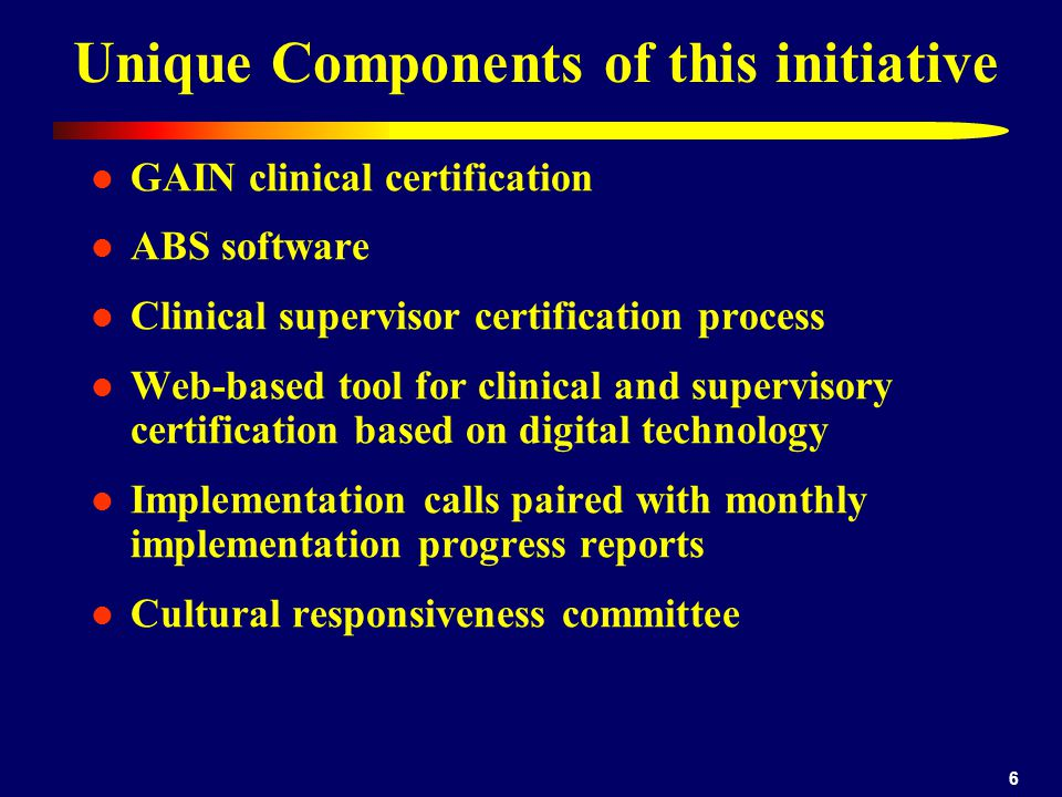 6 Unique Components of this initiative GAIN clinical certification ABS software Clinical supervisor certification process Web-based tool for clinical and supervisory certification based on digital technology Implementation calls paired with monthly implementation progress reports Cultural responsiveness committee