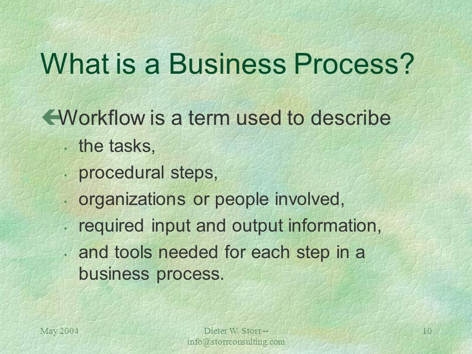 May 2004Dieter W. Storr -- info@storrconsulting.com 9 Business Process Modeling What is a business process?
