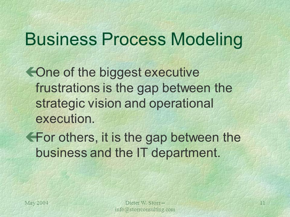May 2004Dieter W. Storr -- info@storrconsulting.com 10 What is a Business Process? çWorkflow is a term used to describe the tasks, procedural steps, o