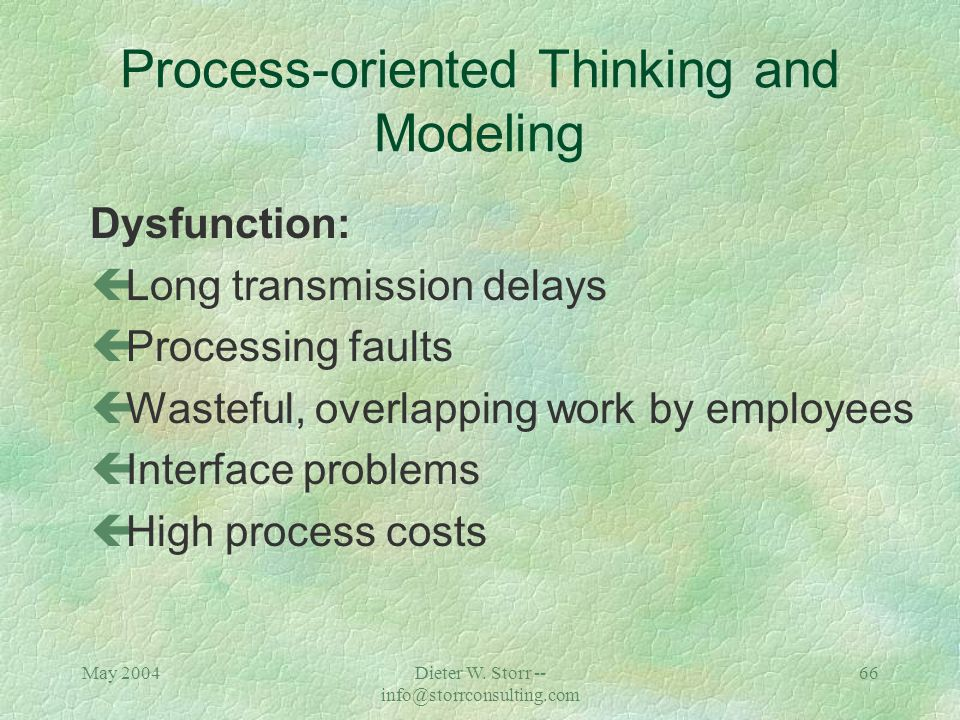 May 2004Dieter W. Storr -- info@storrconsulting.com 65 Process-oriented Thinking and Modeling Coordination problems with cross-functional tasks No