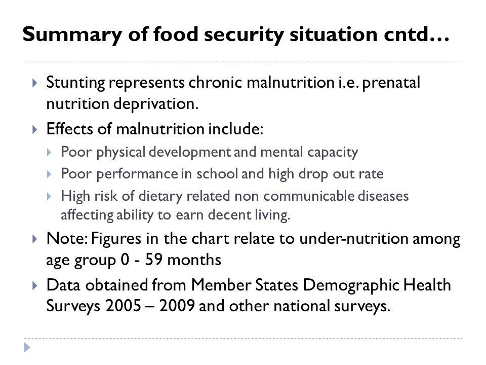  Stunting represents chronic malnutrition i.e. prenatal nutrition deprivation.