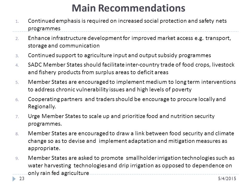 Main Recommendations 23 1.