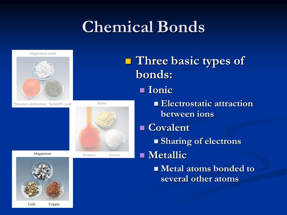 Chemical Bonds Three basic types of bonds: Ionic Electrostatic attraction between ions Covalent Sharing of electrons Metallic Metal atoms bonded to se