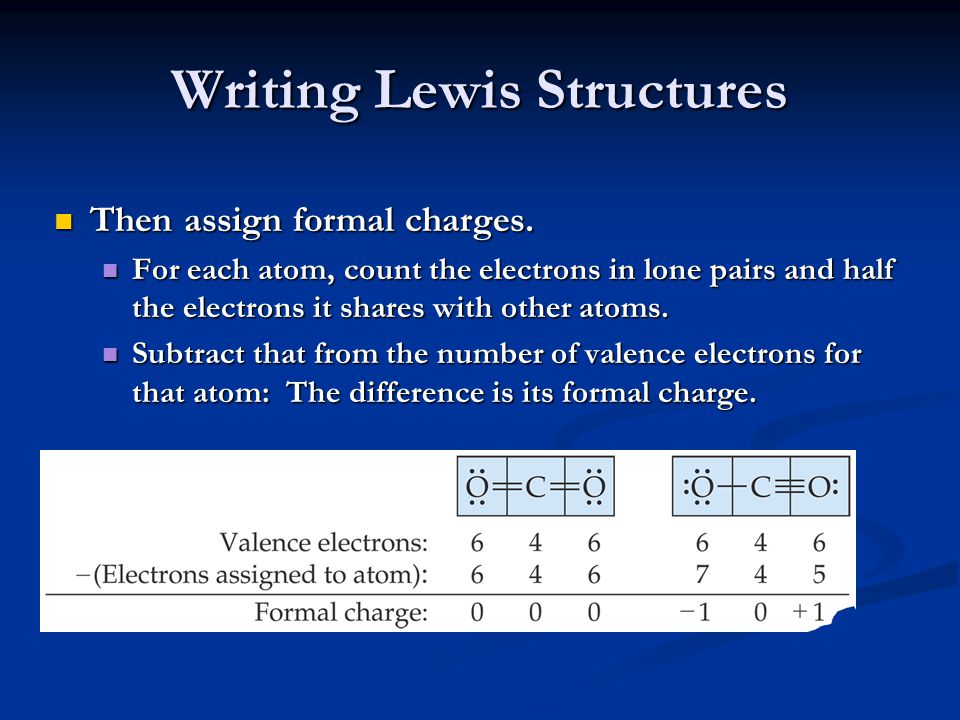Writing Lewis Structures Then assign formal charges. Then assign formal charges. For each atom, count the electrons in lone pairs and half the electro