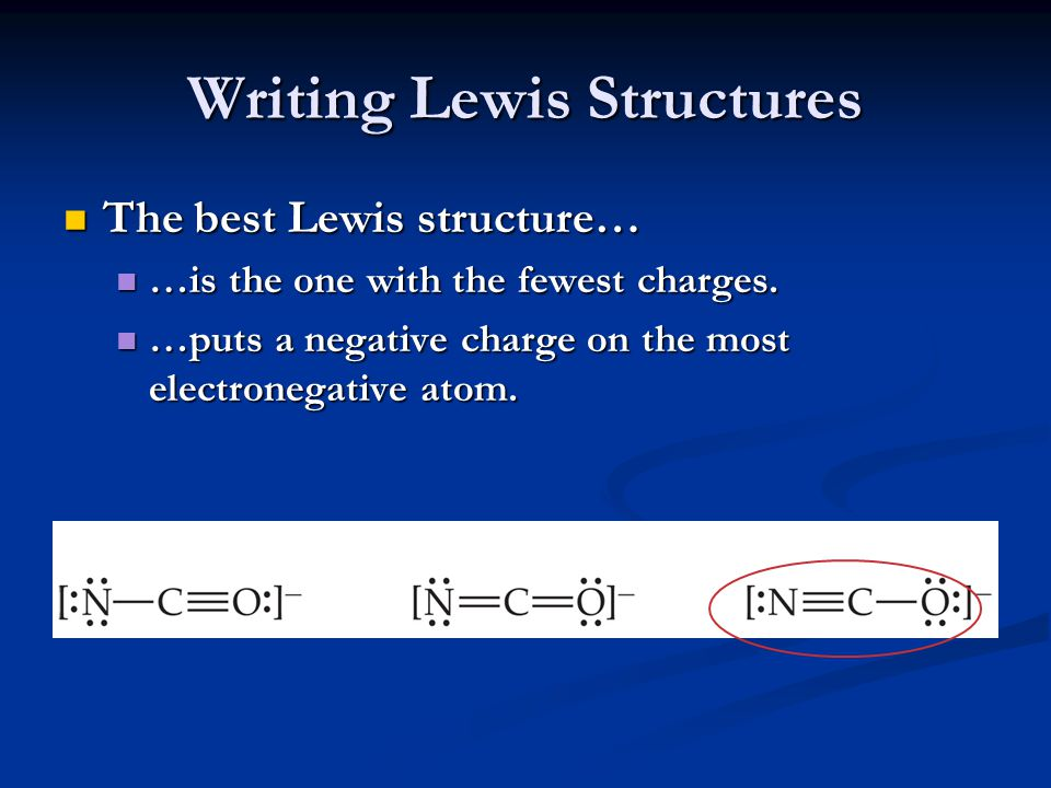 Writing Lewis Structures The best Lewis structure… The best Lewis structure… …is the one with the fewest charges. …is the one with the fewest charges.