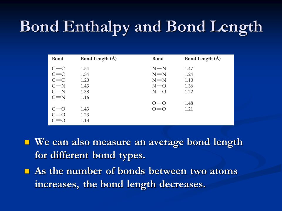 Bond Enthalpy and Bond Length We can also measure an average bond length for different bond types. As the number of bonds between two atoms increases,