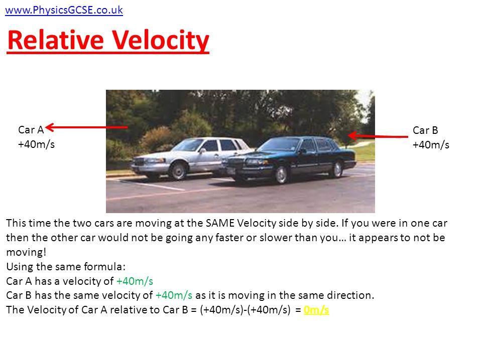 Relative Velocity Car A moves right at 40m/s. Car B moves to the left at 40 m/s. This means that their velocities are in opposite directions. So Car A