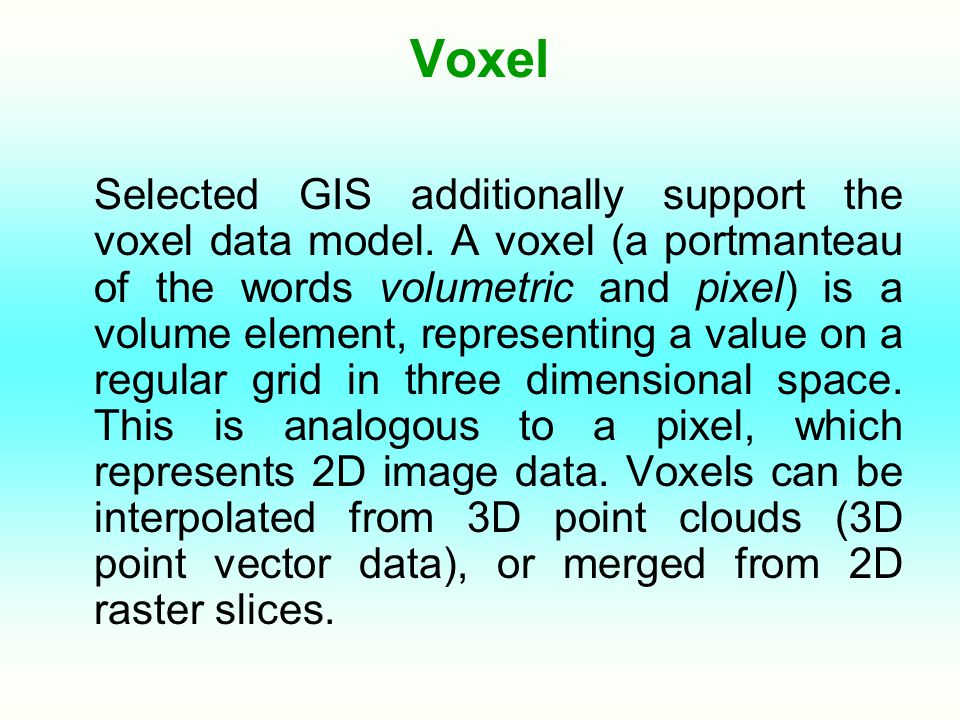 Voxel Selected GIS additionally support the voxel data model.