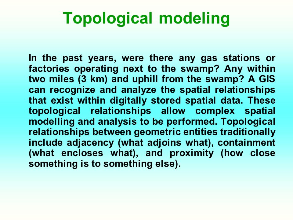 Topological modeling In the past years, were there any gas stations or factories operating next to the swamp? Any within two miles (3 km) and uphill f