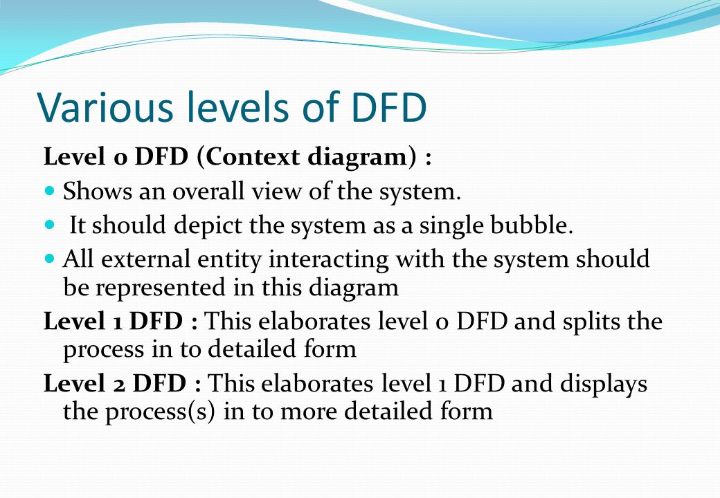 Various levels of DFD Level 0 DFD (Context diagram) : Shows an overall view of the system. It should depict the system as a single bubble. All externa