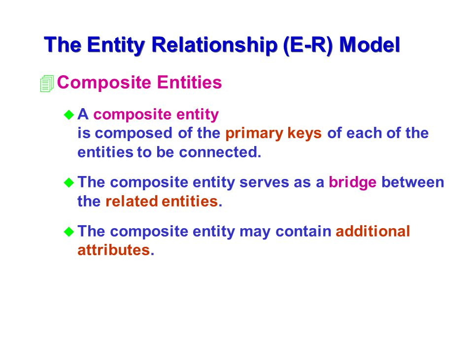 4Composite Entities u A composite entity is composed of the primary keys of each of the entities to be connected. u The composite entity serves as a b