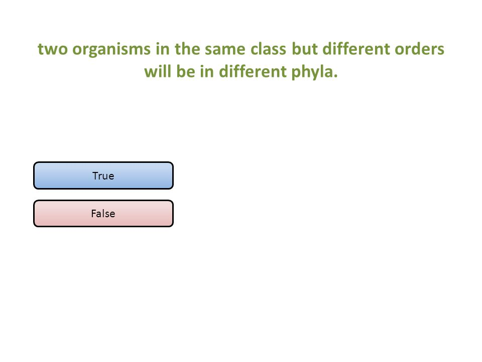 two organisms in the same class but different orders will be in different phyla. True False