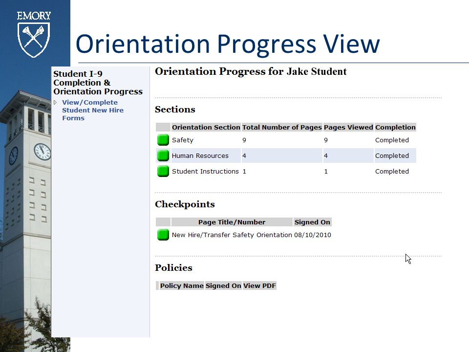 Orientation Progress View