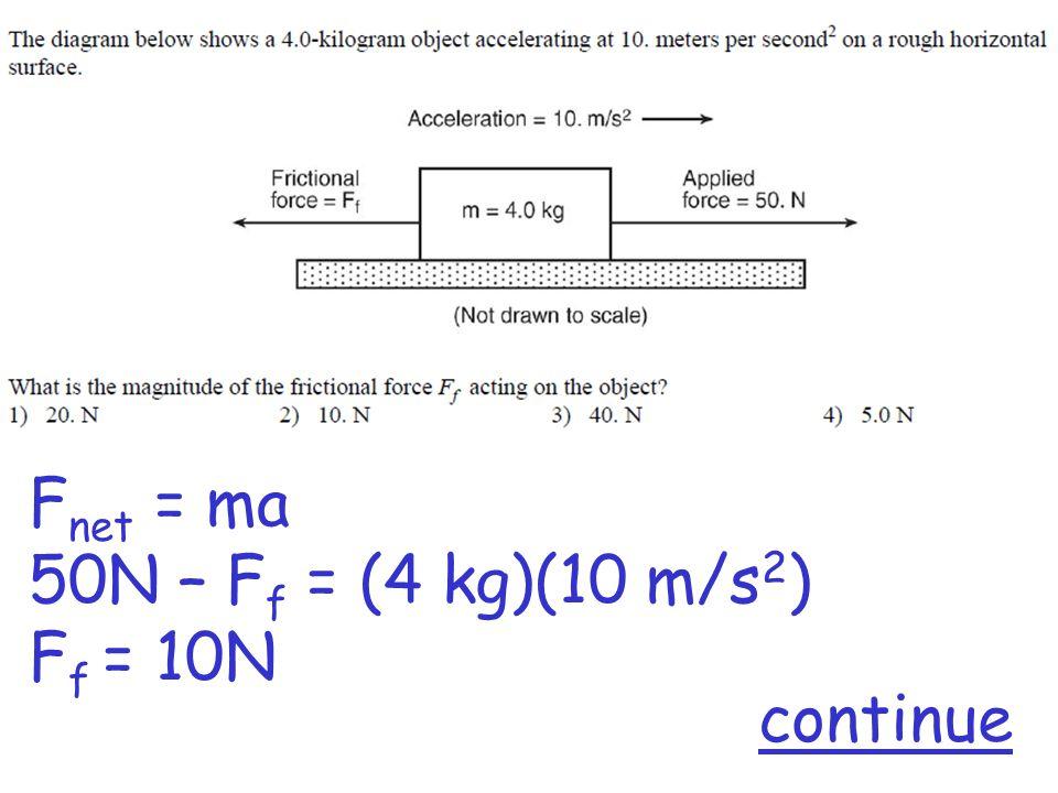 F net = ma 50N – F f = (4 kg)(10 m/s 2 ) F f = 10N continue