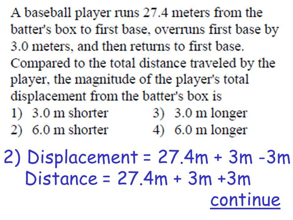2)Displacement = 27.4m + 3m -3m Distance = 27.4m + 3m +3m continue