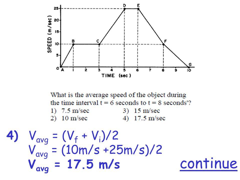 4) V avg = (V f + V i )/2 V avg = (10m/s +25m/s)/2 V avg = 17.5 m/s
