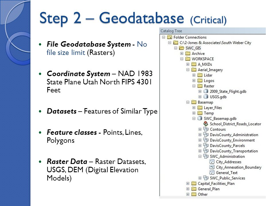 Step 2 – Geodatabase (Critical) File Geodatabase System - No file size limit (Rasters) Coordinate System – NAD 1983 State Plane Utah North FIPS 4301 Feet Datasets – Features of Similar Type Feature classes - Points, Lines, Polygons Raster Data – Raster Datasets, USGS, DEM (Digital Elevation Models)