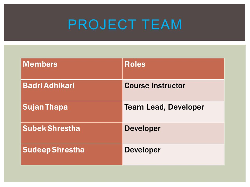 MembersRoles Badri AdhikariCourse Instructor Sujan ThapaTeam Lead, Developer Subek ShresthaDeveloper Sudeep ShresthaDeveloper PROJECT TEAM
