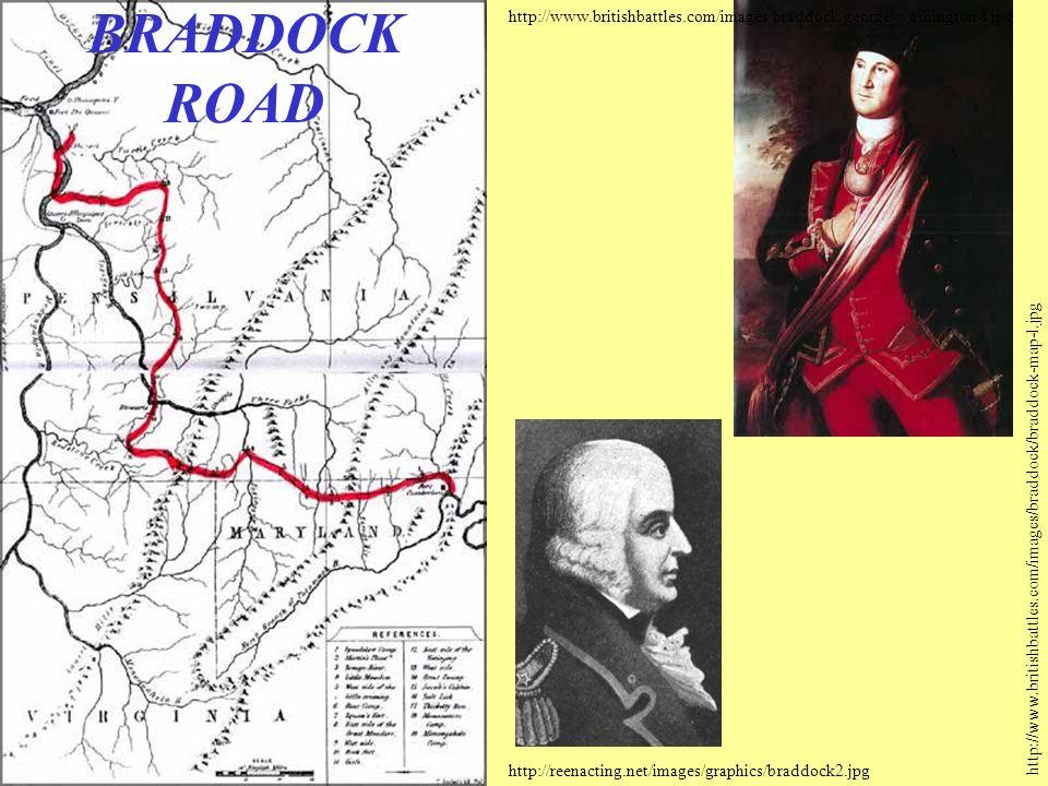 http://www.britishbattles.com/images/braddock/braddock-map-l.jpg http://reenacting.net/images/graphics/braddock2.jpg http://www.britishbattles.com/images/braddock/george-washington-l.jpg BRADDOCK ROAD