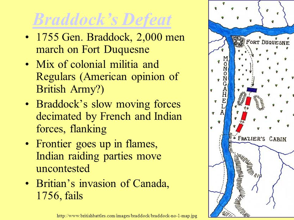 Braddock's Defeat 1755 Gen. Braddock, 2,000 men march on Fort Duquesne Mix of colonial militia and Regulars (American opinion of British Army?) Braddo