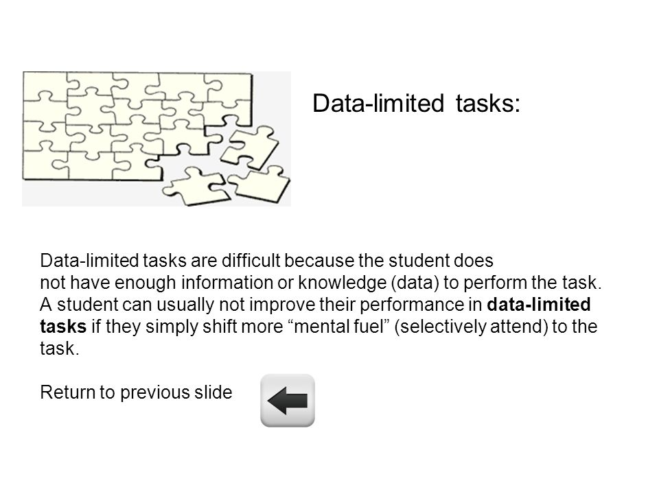 Data-limited tasks: Data-limited tasks are difficult because the student does not have enough information or knowledge (data) to perform the task. A s