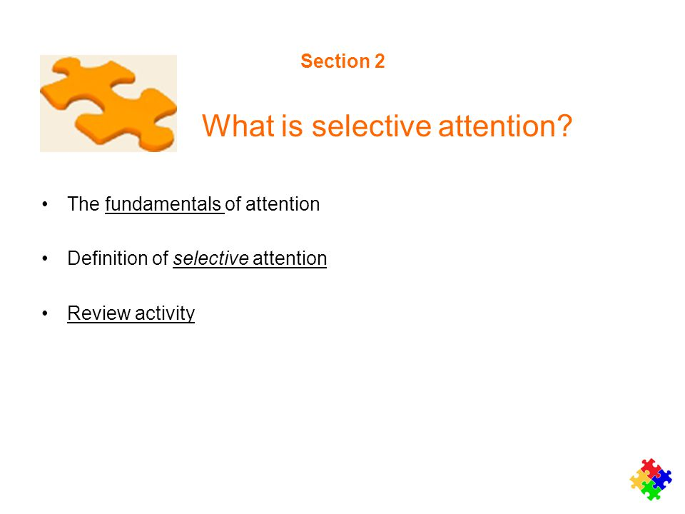 Section 2 What is selective attention? The fundamentals of attentionfundamentals Definition of selective attentionselective attention Review activity