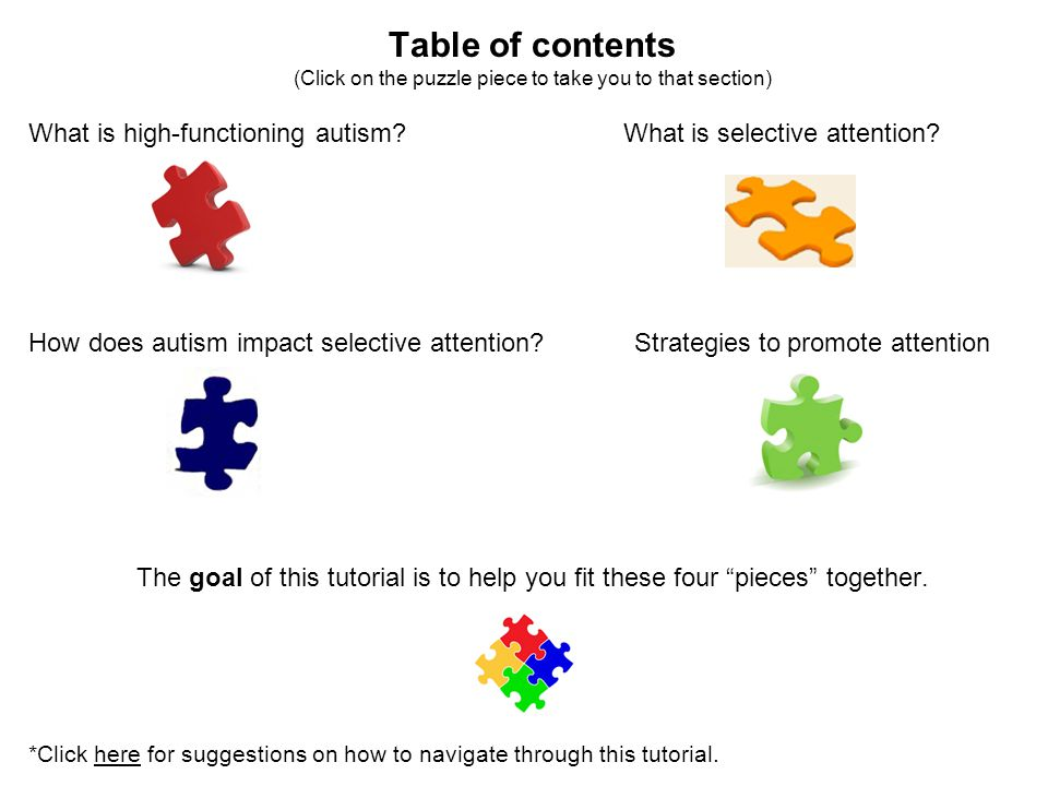 Table of contents (Click on the puzzle piece to take you to that section) What is high-functioning autism? What is selective attention? How does autis